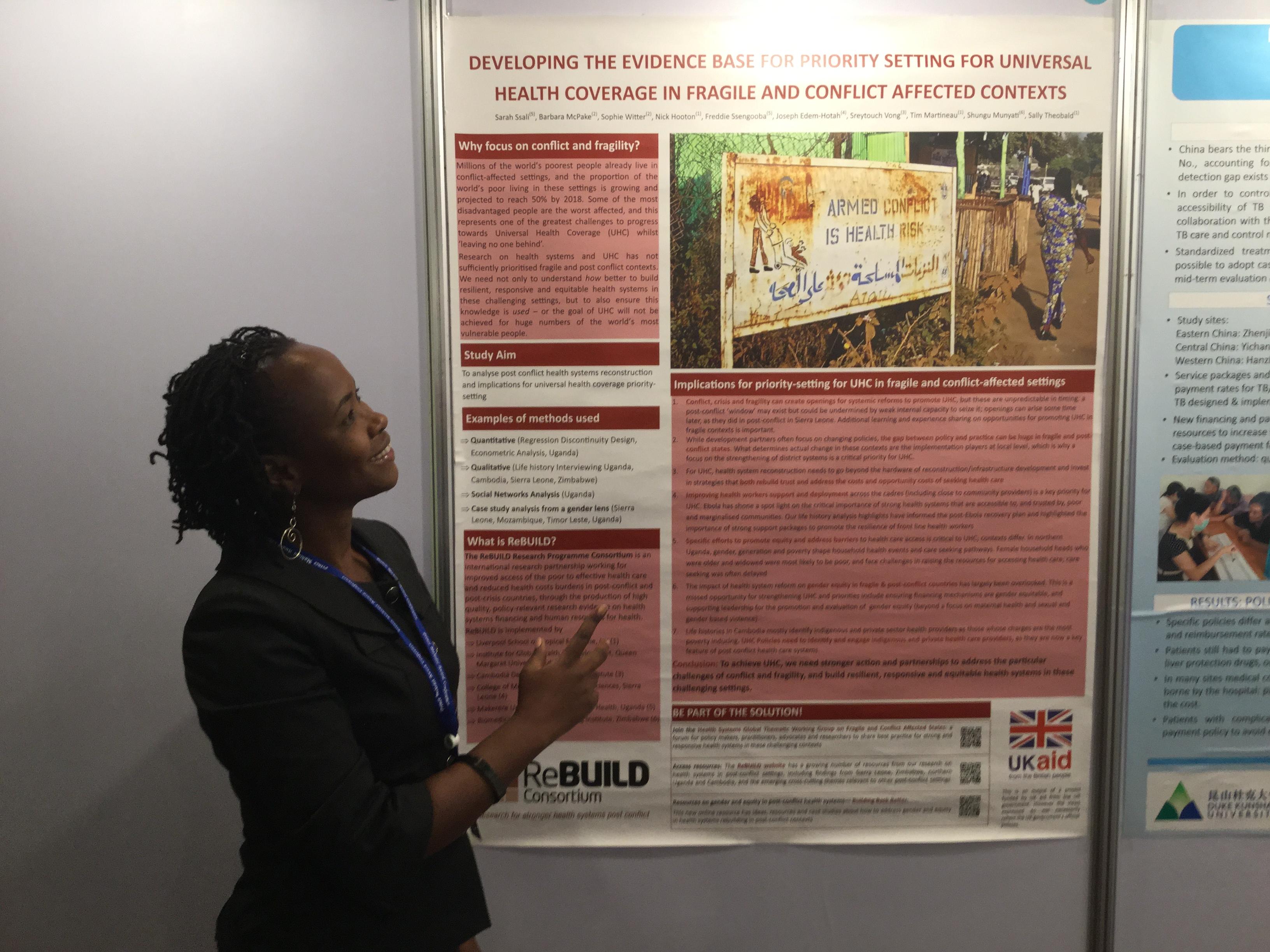 Sarah with poster